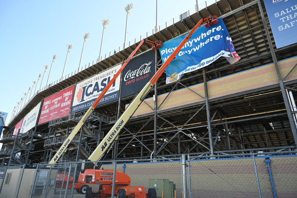 JLG Ultraboom Rented by Stevenson Crane Service Hanging Banners for NASCAR Camping World at Chicagoland Speedway 21